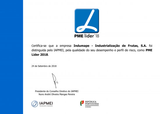 Indumape is PME Leader 2018